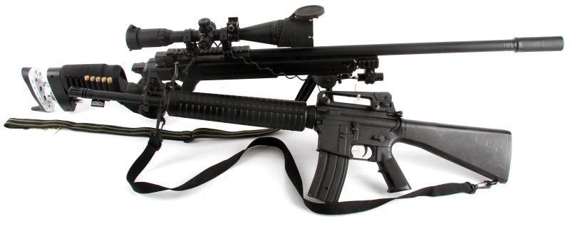 TWO AIRSOFT BB GUNS SNIPER, M16