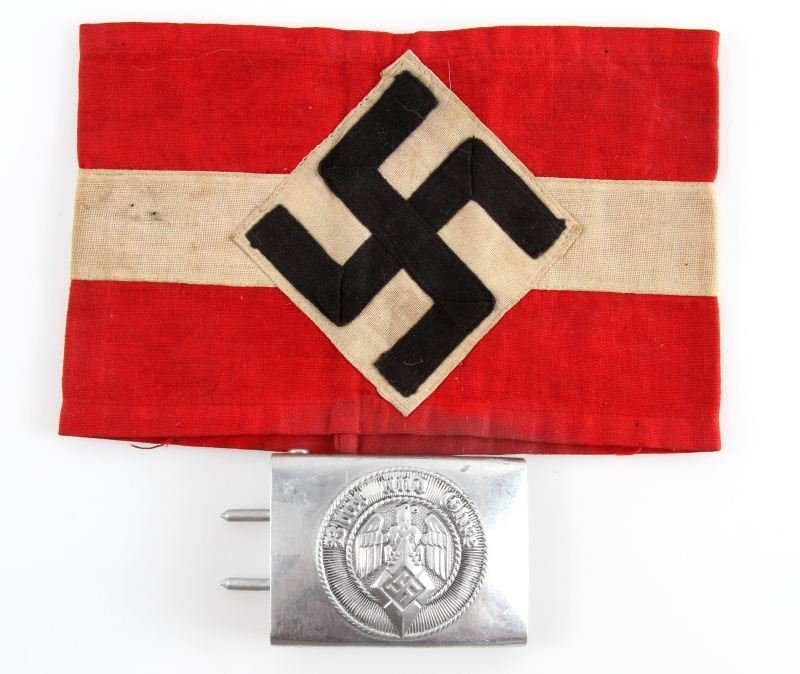 WWII GERMAN HITLER YOUTH BUCKLE & ARMBAND