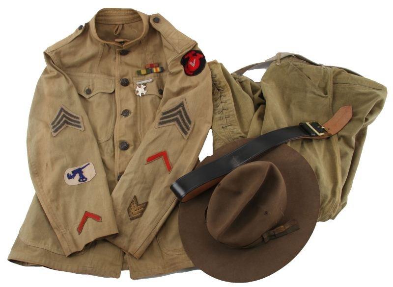 WWI 5TH MARINE BRIGADE TROUSERS TUNIC BELT & HAT