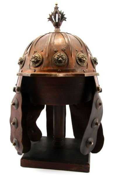 Mongol Copper And Leather Helmet Museum Replica