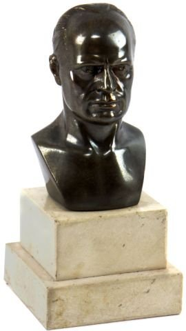 BRONZE BUST OF MUSSOLINI ON MARBLE BASE