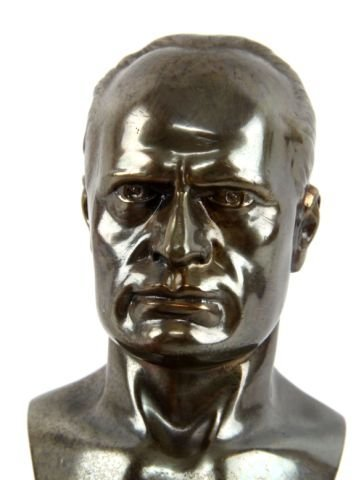 BRONZE BUST OF MUSSOLINI ON MARBLE BASE - 2