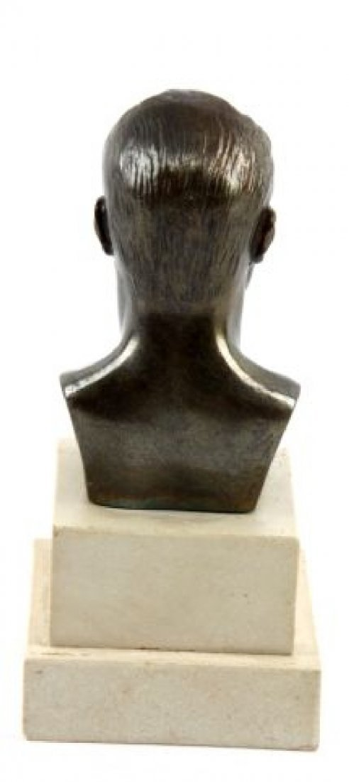 BRONZE BUST OF MUSSOLINI ON MARBLE BASE - 3