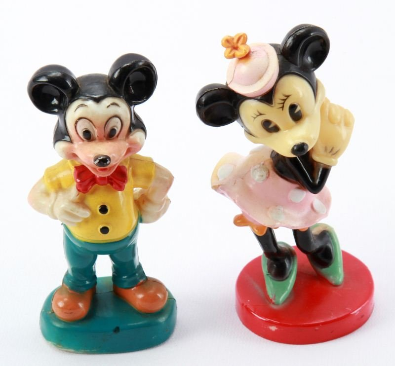 VINTAGE CELLULOID MICKEY AND MINNIE MOUSE FIGURINE