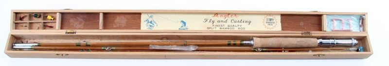 VINTAGE ANGLER SPLIT BAMBOO FLY AND CASTING ROD