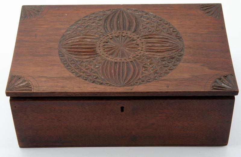ANTIQUE GEOMETRIC HAND-CARVED WOOD BOX