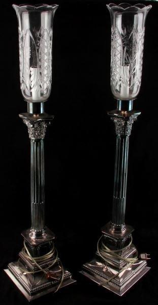 SILVERPLATED CORINTHIAN COLUMN CANDLESTICK LAMPS