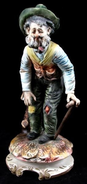 CAPODIMONTE PORCELAIN TRAMP HOBO FIGURE WITH CANE