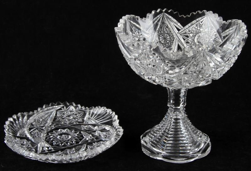 TWO AMERICAN BRILLIANT CUT CRYSTAL CANDY DISHES