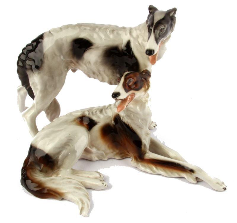 KERAMOS WEIN PORCELAIN OLD BORZOI DOGS FIGURINE