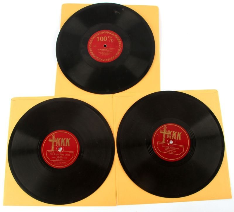 THREE KU KLUX KLAN 1920'S KKK 78 RPM RECORDS