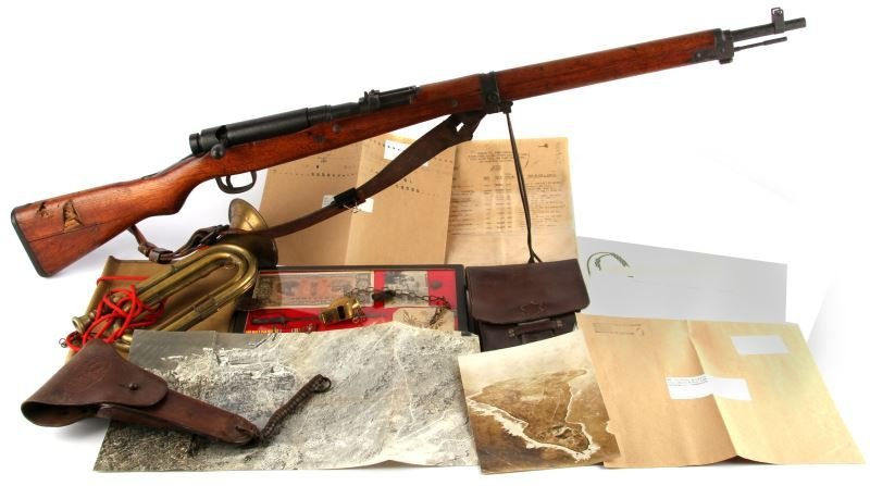 WWII ITEMS & RIFLE ARCHIVE NAMED TO CHESTER FAULK