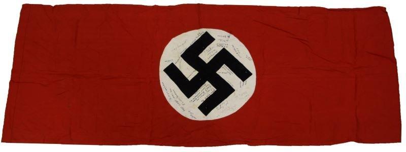 CAPTURED WWII GERMAN FLAG GI SIGNED