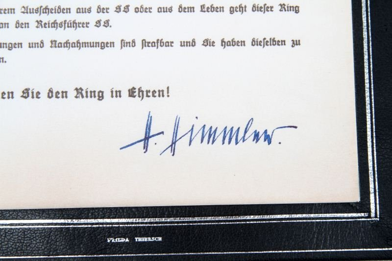 NSDAP HEYDRICH'S HONOR RING & DOCUMENT REPLICA - 3