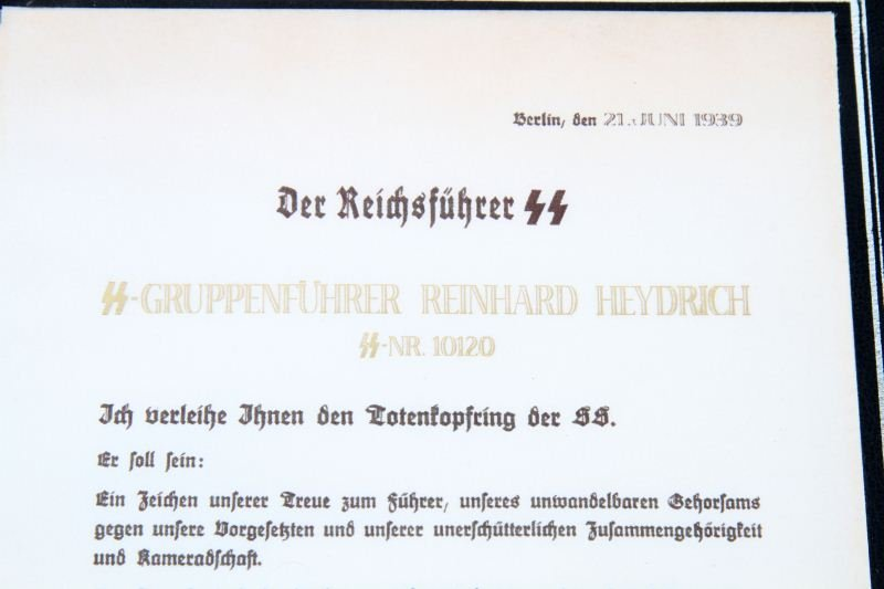 NSDAP HEYDRICH'S HONOR RING & DOCUMENT REPLICA - 4