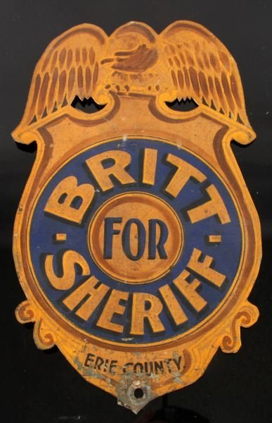 ERIE COUNTY NEW YORK BRITT FOR SHERIFF METAL SIGN