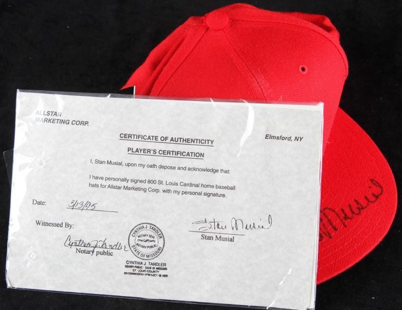 STAN MUSIAL SIGNED ST. LOUIS CARDINAL BASEBALL HAT