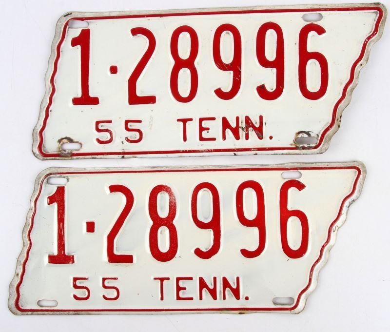 1955 PAIR OF TENNESSEE LICENSE PLATES TAGS