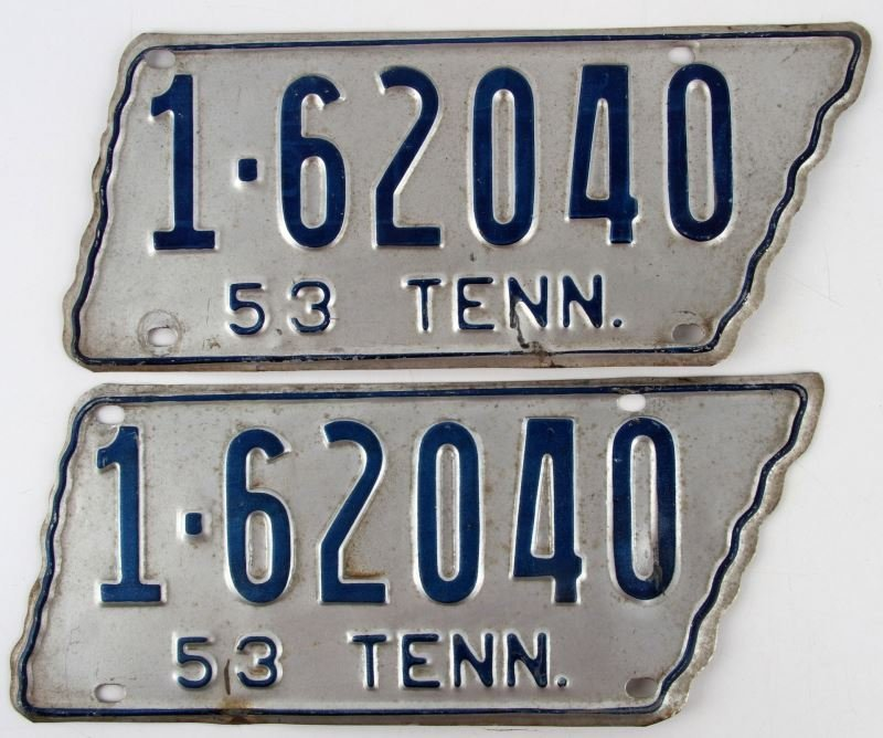 1953 PAIR OF TENNESSEE LICENSE PLATES TAGS