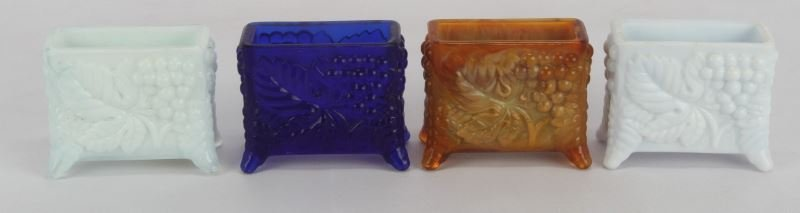 FOUR MATCHING PATTERN GLASS CARD DECK HOLDERS