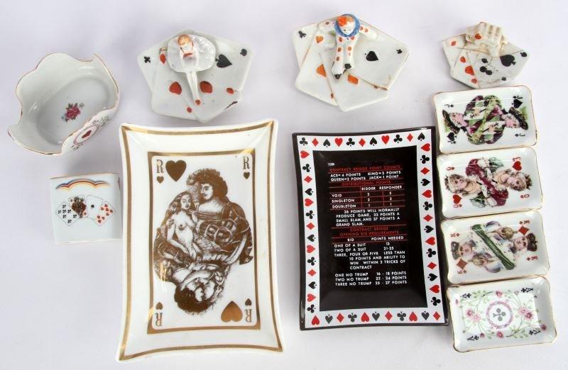 PORCELAIN PLAYING CARD ASHTRAYS& CIGARETTE HOLDER