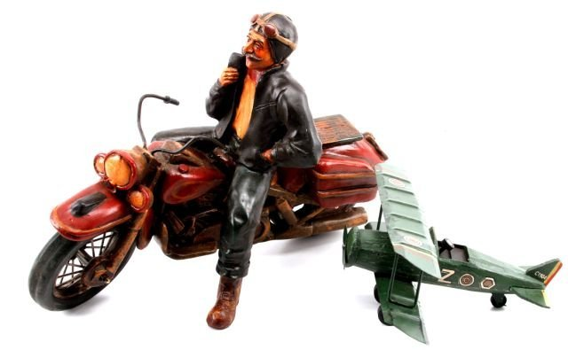 CAST RESIN MOTORCYCLE & WOOD AND METAL BI-PLANE