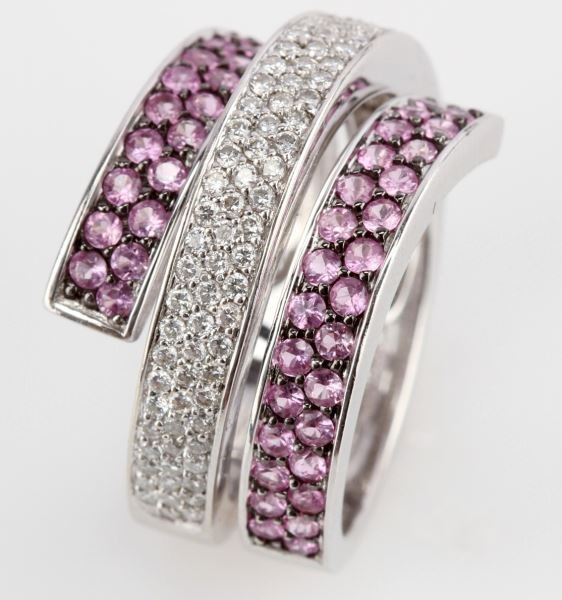 LADIES 14K WG DIAMOND & PINK SAPPHIRE RING