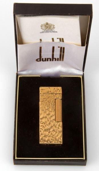 DUNHILL TREE BARK GOLD FILL ROLLER GAS LIGHTER