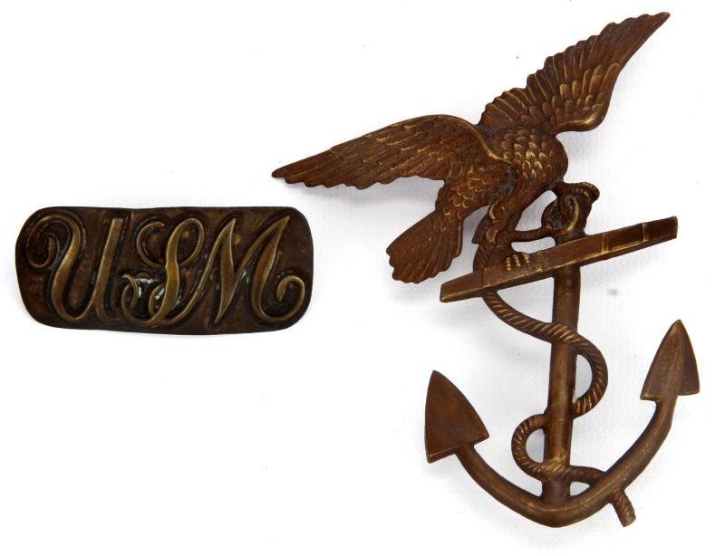 USMC MARINE CORP M1852 SHAKO & 1842 USM HAT PLATE