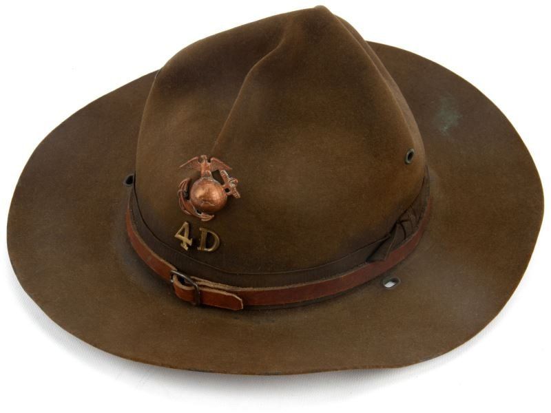 2 WWI USMC M1911 CAMPAIGN HATS WITH EGAS