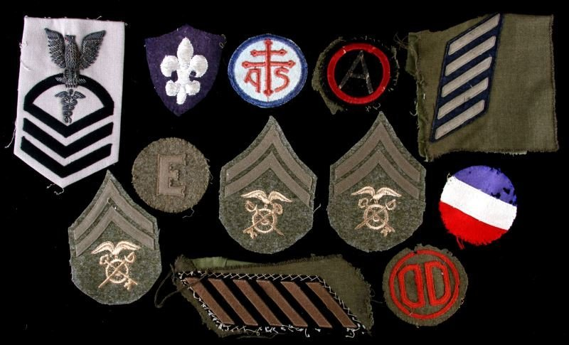 WWI CLOTH SHOULDER & SLEEVE PATCH LOT SOME RARE