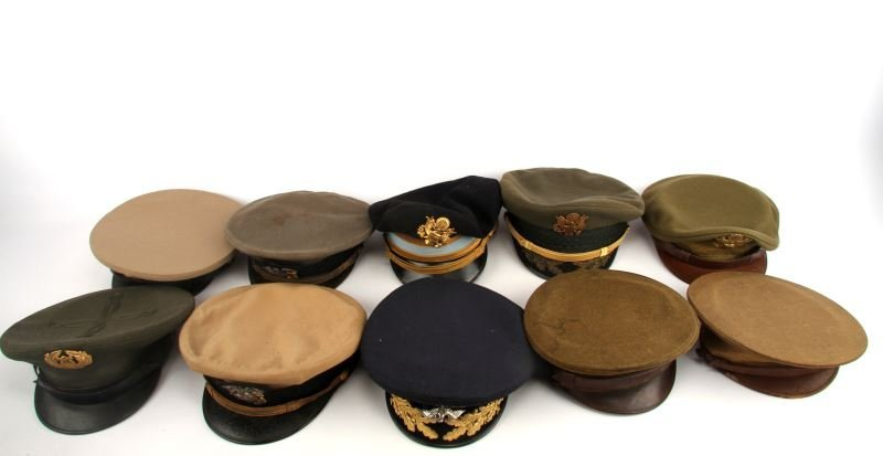 GROUP OF 9 WWI & WWII NAVY USMC OFFICER VISORS