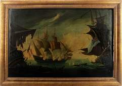 19TH CENTURY ENGLISH NAVAL BATTLE OIL PAINTING