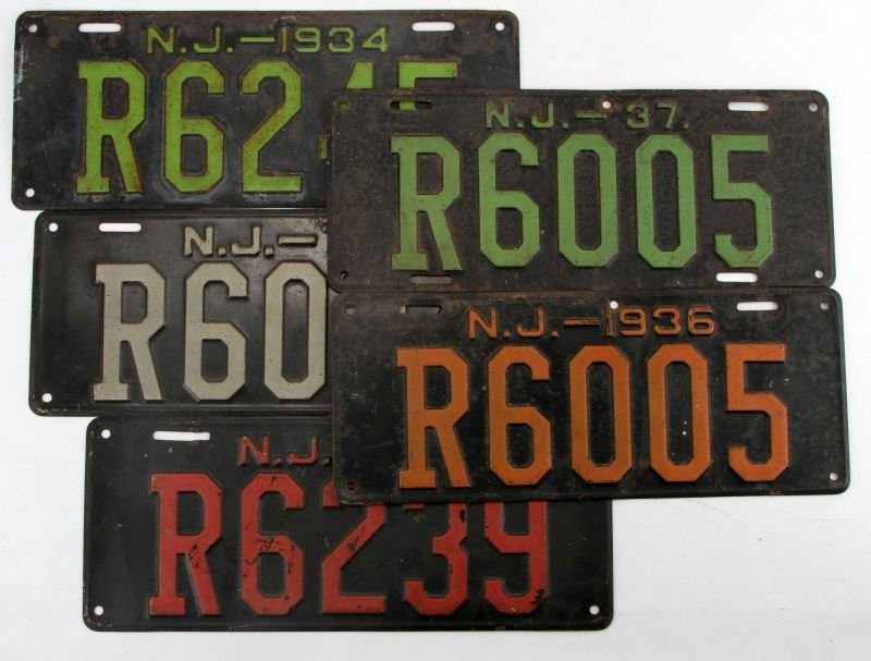 NEW JERSEY LICENSE TAG PLATE LOT 1933 34 35 36 37
