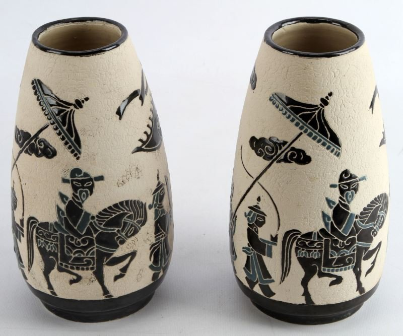 PAIR OF CHINESE VASES WITH MONGOLIAN PROCESSION