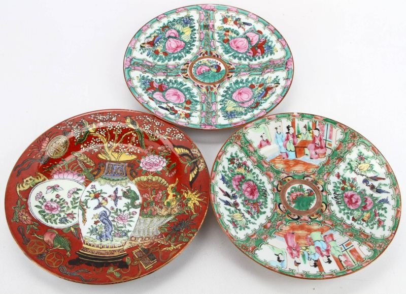 CHINESE HAND PAINTED ENAMEL PLATES