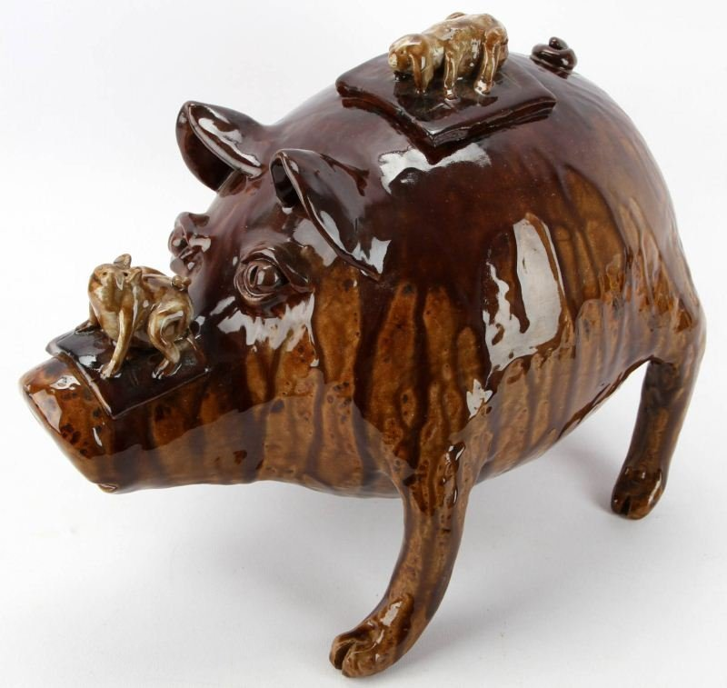 CLAUDE MILLER SOUTHERN STYLED CERAMIC FOLK ART PIG