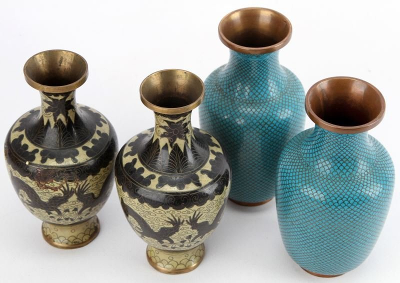 TWO PAIR OF ASIAN CLOISONNE VASES
