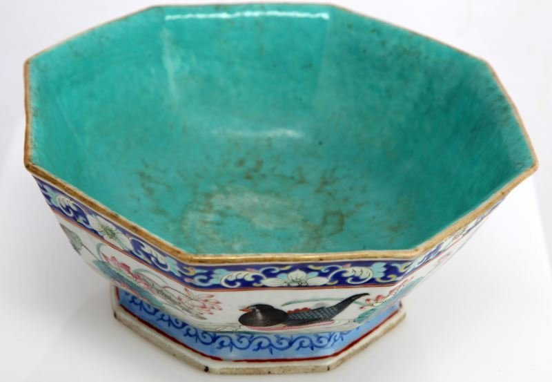 CHINESE OCTAGONAL RICE BOWL TUNG CHIH PERIOD