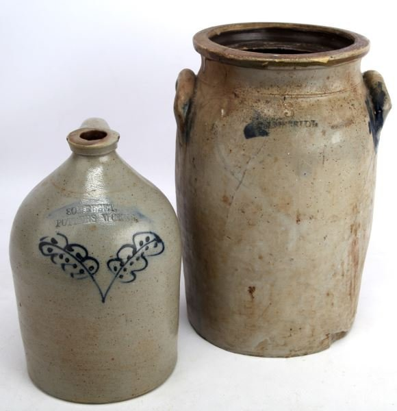 GROUP OF TWO STONEWARE POTTERY WORKS