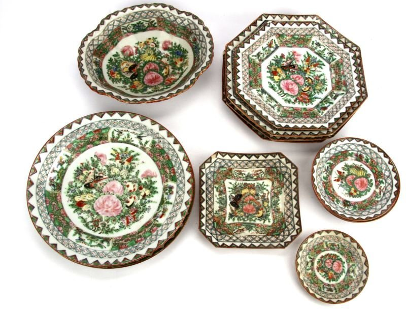 13 PIECE ANTIQUE CANTON CHINA FLORAL & BUTTERFLY