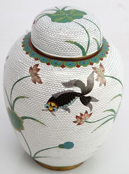 ANTIQUE CHINESE CLOISONNE GINGER JAR WITH LID