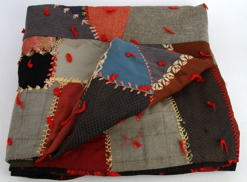 SIGNED 1908 HAND-SEWN WOOL N VARIOUS TEXTILE QUILT