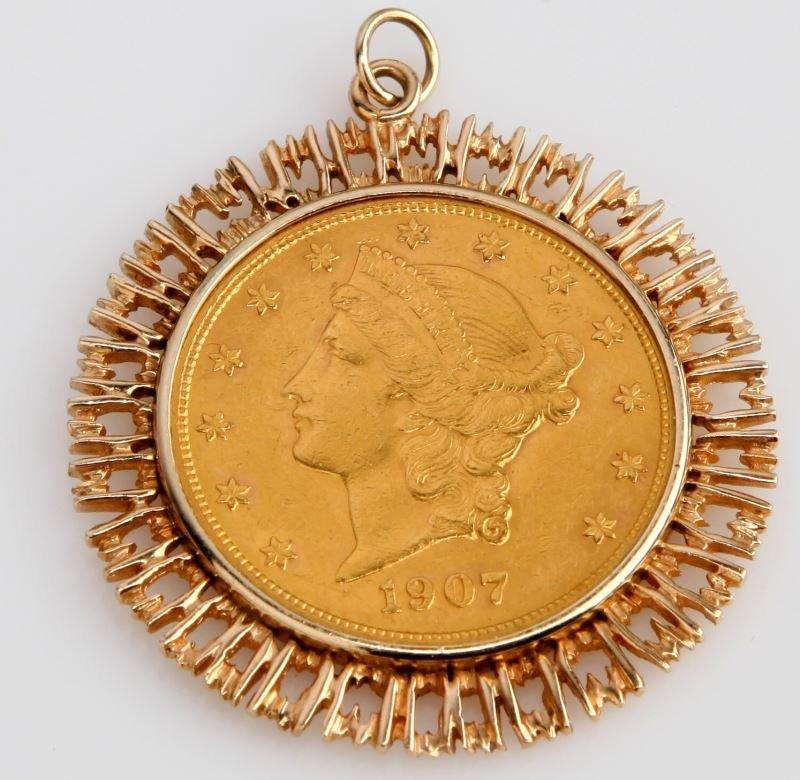 1907 LIBERTY $20 DOUBLE EAGLE GOLD COIN & BEZEL