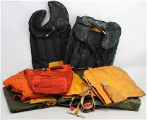 COLLECTION OF MILITARY FLOTATION VEST & RAFT LOT