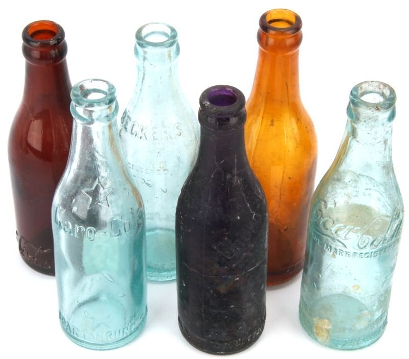 6 OLD VINTAGE STRAIGHT SIDED COCA COLA BOTTLES