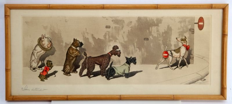 HAND COLORED BORIS O'KLEIN FRENCH DOG ENGRAVING