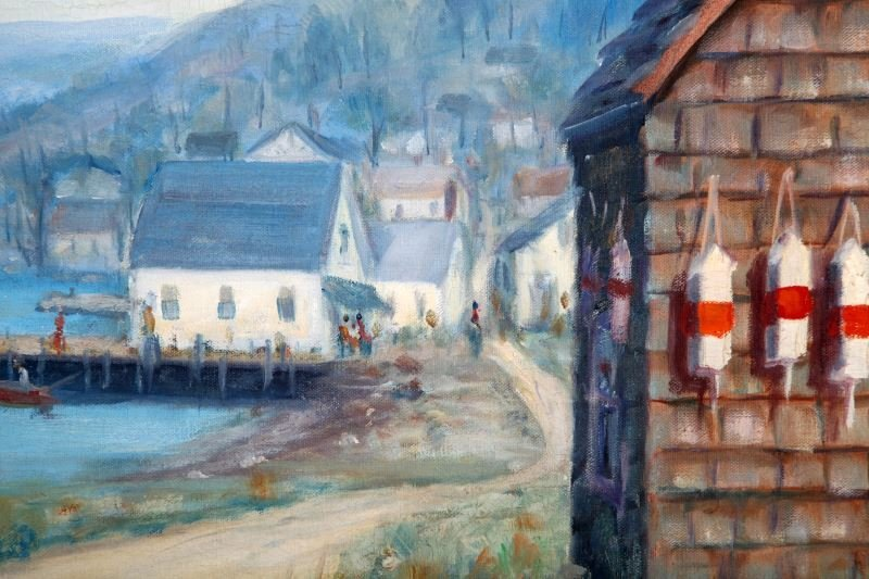 FRED SARGENT OIL ON CANVAS SEASIDE PAINTING - 2