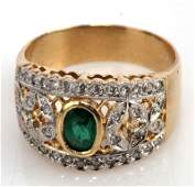 LADIES 14K YG EMERALD AND DIAMOND COCKTAIL RING