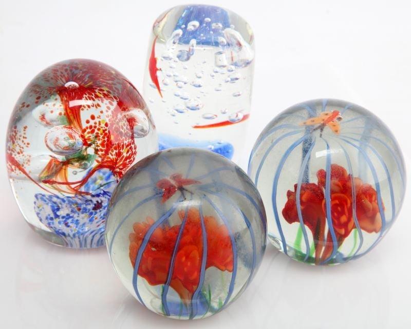4 ART GLASS MURANO STYLE PAPERWEIGHTS LOT